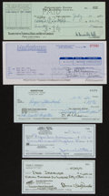Football Collectibles:Others, Football Greats Signed Checks Lot of 5....