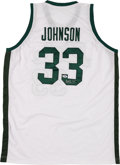 Baseball Collectibles:Uniforms, Magic Johnson Signed Michigan State Spartans Jersey....