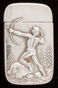 Silver Smalls:Match Safes, AN AMERICAN SILVER AND SILVER GILT MATCH SAFE . Maker unknown,circa 1900. Marks: STERLING. 2-1/2 inches high (6.4 cm). ...
