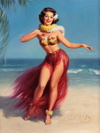 WILLIAM MEDCALF (American, 20th Century) Aloha!, Brown & Bigelow calendar illustration Oil on board<