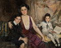 Illustration, HOWARD CHANDLER CHRISTY (American, 1872-1952). Portrait of aWoman and Two Children, 1921. Oil on canvas. 40 x 50 inches...