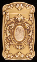 Silver Smalls:Match Safes, A BATTIN 14K GOLD HIDDEN PHOTOGRAPH MATCH SAFE . Battin & Co.,Newark, New Jersey, circa 1896. Marks: 14K, B, 180, PAT.MA...