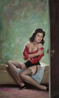 Pin-up and Glamour Art, ED MORITZ (American, 20th Century). Sultry Siren, paperbackcover. Oil on board. 15.5 x 9.5 in. (image). Signed lower le...