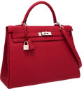 Luxury Accessories:Bags, Hermes 35cm Rubis Clemence Leather Retourne Kelly Bag withPalladium Hardware . ...