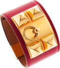 Luxury Accessories:Accessories, Hermes Rouge Garance Swift Leather Collier de Chien Bracelet withGold Hardware. ...
