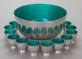 Silver Holloware, American:Punch Bowls, A TOWLE SILVER AND ENAMEL PUNCH BOWL AND TWELVE CUPS . TowleSilversmiths, Newburyport, Massachusetts, circa 1955. Marks: (l...(Total: 13 Items)