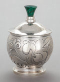Silver Holloware, American, A HENRY PETZAL SILVER AND MALACHITE CANISTER. Henry Petzal, Lenox,Massachusetts and La Jolla, California, circa 1979. Marks...