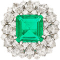 Estate Jewelry:Rings, Emerald, Diamond, Platinum Ring, Ruser. ...
