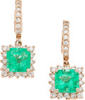 Estate Jewelry:Earrings, Emerald, Diamond, Pink Gold Earrings. ...