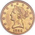 Liberty Eagles, 1859-O $10 AU55 NGC. Variety 1....