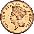 Three Dollar Gold Pieces, 1870 $3 MS63 PCGS....