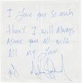 Music Memorabilia:Autographs and Signed Items, Michael Jackson Signed Cloth Napkin (c. 2000s)....