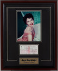 Movie/TV Memorabilia:Autographs and Signed Items, An Ava Gardner Signed Check, 1981....