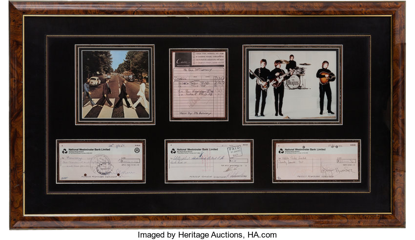 The Beatles Framed Display with Signed Checks and | Lot #46261 ...