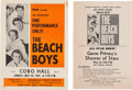 Music Memorabilia:Tickets, Beach Boys Handbill Group (1965).... (Total: 2 Items)