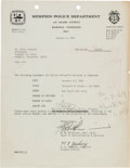 Music Memorabilia:Documents, Elvis Presley Invoice From the Memphis Police Department (1969)....
