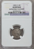 Barber Dimes, 1905-O 10C -- Improperly Cleaned -- NGC Details. AU. NGC Census:(3/144). PCGS Population (1/146). Mintage: 3,400,000. Numi...