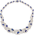 Estate Jewelry:Necklaces, Sapphire, Diamond, Platinum Necklace. ...