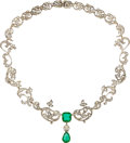 Estate Jewelry:Necklaces, Victorian Diamond, Emerald, Silver-Topped Gold Necklace. ...