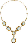 Estate Jewelry:Necklaces, Aquamarine, Gold Necklace. ...