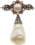 Estate Jewelry:Brooches - Pins, Victorian Natural Pearl, Diamond, Ruby, Silver-Topped Gold Brooch....