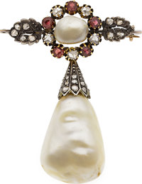 Victorian Natural Pearl, Diamond, Ruby, Silver-Topped Gold Brooch