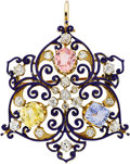 Estate Jewelry:Brooches - Pins, Multi-Stone, Diamond, Enamel, Gold Brooch, Kirkpatrick, early 20th century. ...