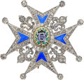 Estate Jewelry:Brooches - Pins, Diamond, Enamel, Gold, Silver Commander's Breast Pin of the Orderof Charles III, Spain, circa 1773. ...