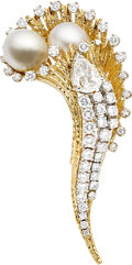 Estate Jewelry:Brooches - Pins, South Sea Cultured Pearl, Diamond, Gold Brooch. ...