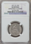 Seated Quarters, 1877-CC 25C -- Improperly Cleaned -- NGC Details. AU. NGC Census:(11/377). PCGS Population (17/444). Mintage: 4,192,000. N...