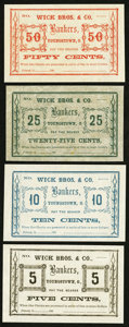 Obsoletes By State:Ohio, Poland, OH- Unknown Issuer at Wick Bros. & Co. 5¢; 10¢; 25¢;50¢ Wolka 2230-01; -02; -03; -04. ... (Total: 4 notes)