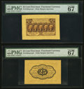 Fractional Currency:First Issue, Fr. 1282SP 25¢ First Issue Wide Margin Pair PMG Superb Gem Unc 67EPQ.. ... (Total: 2 notes)