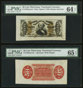 Fractional Currency:Third Issue, Fr. 1328SP 50¢ Third Issue Spinner Wide Margin Pair PMG Gem Uncirculated 65 EPQ and Choice Uncirculated 64 EPQ.. ... (Total: 2 notes)
