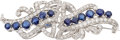 Estate Jewelry:Brooches - Pins, Sapphire, Diamond, Platinum, White Gold Double-Clip-Brooch. ...
