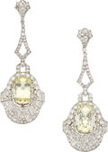 Estate Jewelry:Earrings, Sapphire, Diamond, Platinum, Gold Earrings. ...