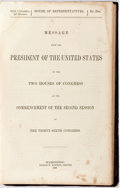 Books:Americana & American History, [Slavery]. [Fugitive Slave Law]. [James Buchanan]. Message fromthe President of the United States to...Congress...