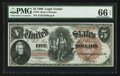 Large Size:Legal Tender Notes, Fr. 72 $5 1880 Legal Tender PMG Gem Uncirculated 66 EPQ.. ...