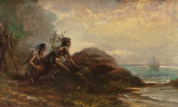 EDWARD MORAN (American, 1829-1901) On the Lookout, 1897 Oil on panel 5 x 8-3/8 inches (12.7 x 21