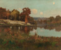 Fine Art - Painting, American:Modern  (1900 1949)  , DELANCEY WALKER GILL (American, 1859-1940). Autumn Landscapewith Pond. Oil on board. 13-1/2 x 16 inches (34.3 x 40.6 cm...