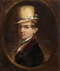 Fine Art - Painting, American:Antique  (Pre 1900), SAMUEL FINLEY BREESE MORSE (American, 1791-1872). Portrait of aMan in a Top Hat, 1840. Oil on panel. 5 x 4-3/8 inches (...