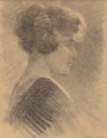 Fine Art - Work on Paper:Drawing, FRANK WARREN MARSHALL (American, 1866-1930). Portrait of DorothyMarshall Ling. Charcoal on paper laid on cardboard. 9-3...