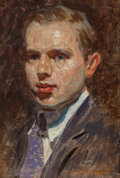 Paintings, RICHARD ANDREW (American, 1869-1956). Portrait of a Man in a Purple Tie. Oil on board. 5-1/2 x 3-3/4 inches (14.0 x 9.5 ...