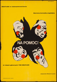 "Help! (United Artists, 1967). Polish One Sheet (23"" X 33""). Rock and Roll"