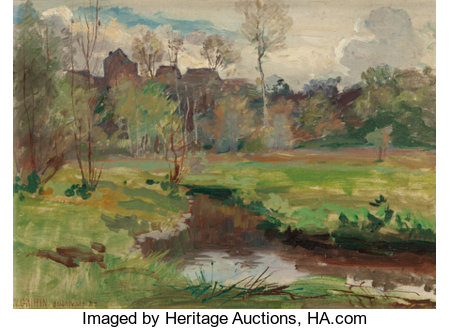 WALTER PARSONS SHAW GRIFFIN (American, 1861-1935) Landscape, Boigneville, France, 1929 Oil on canvas 9-1/2 x 13 inche...