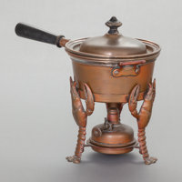 A JOSEPH HEINRICHS BRONZE AND SILVER POT WITH FIGURAL STAND Joseph Heinrichs, New York, New York, circa 1910 Ma