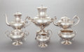 Silver Holloware, American:Tea Sets, A SIX PIECE GORHAM SILVER TEA AND COFFEE SERVICE. GorhamManufacturing Co., Providence, Rhode Island, 1873. Marks to coffee... (Total: 6 Items)