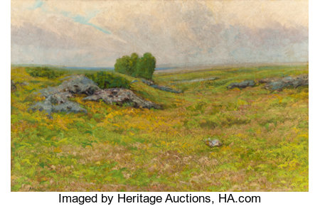 HENRY HAMMOND GALLISON (American, 1850-1910)Pastoral LandscapeOil on canvas26 x 39-1/2 inches (66.0 x 100.3 cm)S...