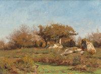 WILLIAM LAMB PICKNELL (American, 1854-1897) Pont Aven, 1886 Oil on canvas 15-1/2 x 21 inches (39