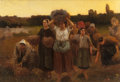 Paintings, FRANK C. PENFOLD (American, 1849-1921). Breton Women at Close of Day. Oil on canvas. 18 x 26-1/4 inches (45.7 x 66.7 cm)...