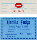 Music Memorabilia:Tickets, Led Zeppelin and Vanilla Fudge Concert Ticket Group (1969)....(Total: 2 Items)